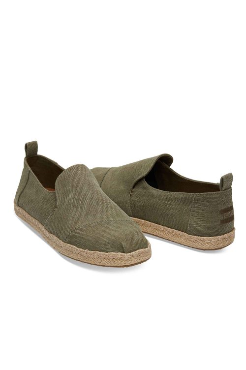 TOMS DECONSTRUCTED ALPARGATA ROPE OLIVE WASHED CANVAS