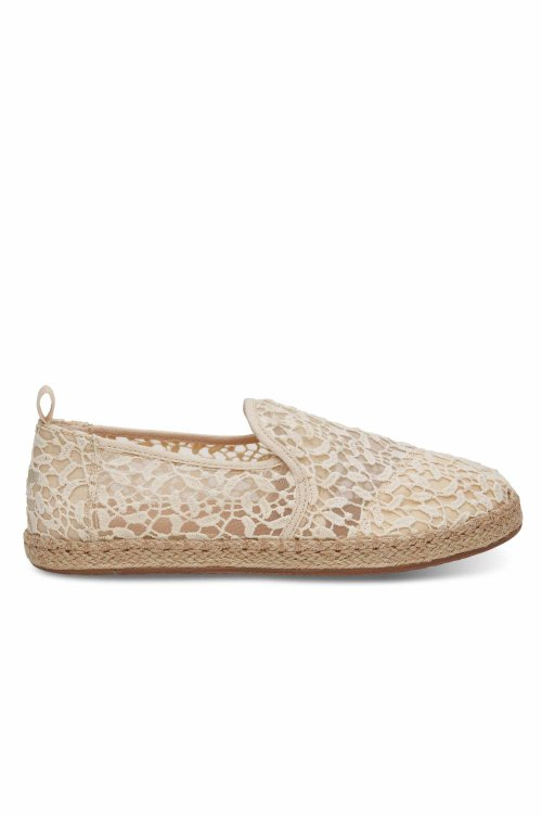 TOMS TOMS DECONSTRUCTED ALPARGATA ROPE  NATURAL LACE LEAVES