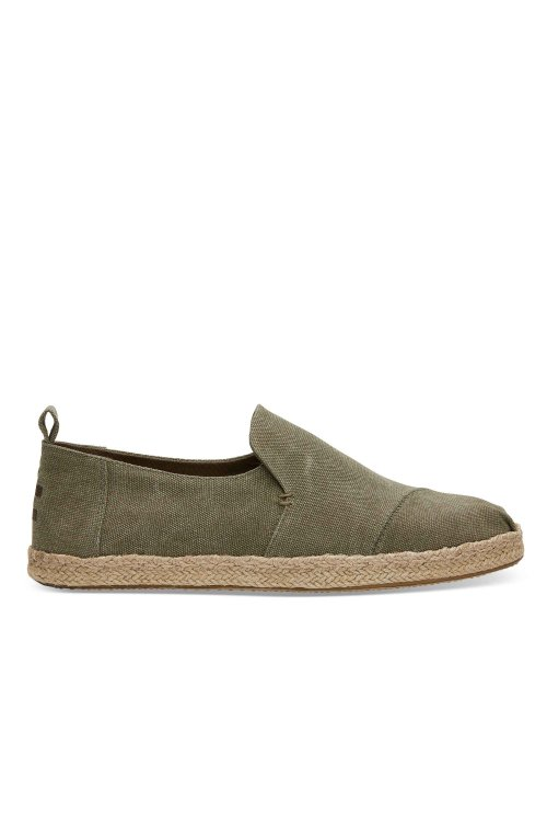 TOMS TOMS DECONSTRUCTED ALPARGATA ROPE OLIVE WASHED CANVAS