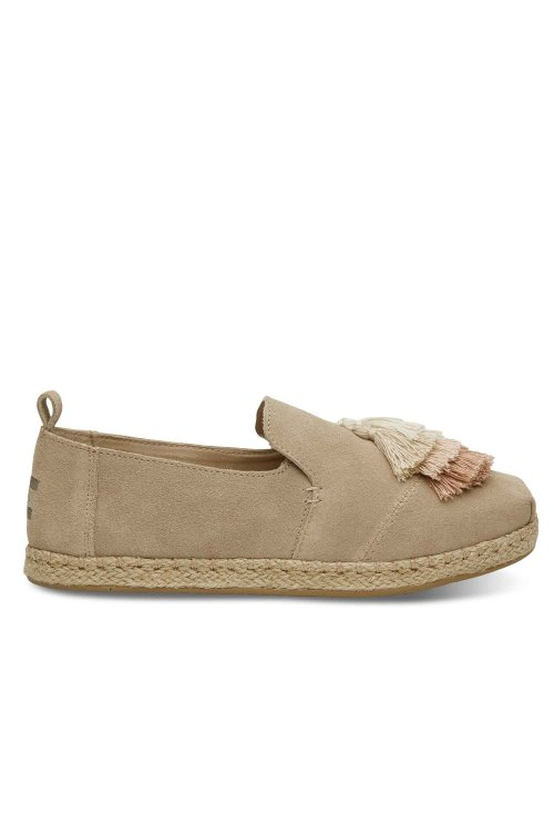 TOMS TOMS DECONSTRUCTED ALPARGATA ROPE OXFORD TAN SUEDE/TASSEL