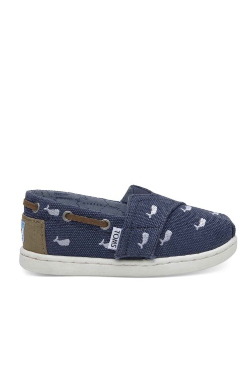 TOMS TOMS BIMINI TINY NAVY WHALE EMBROIDERY